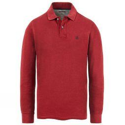 Timberland Mens Long Sleeve Miller River Polo Shirt Pomegranate