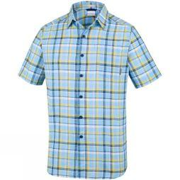 Columbia Mens Under Exposure Yarn Dye Short Sleeve Shirt Blue Sky Plaid