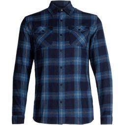 Icebreaker Mens Lodge Flannel Long Sleeve Shirt Midnight Navy/ Prussian Blue Plaid