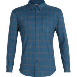 Icebreaker Mens Compass Flannel Long Sleeve Shirt Thunder / Timberwolf / Hydro Plaid