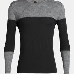 Icebreaker Men's 200 Oasis Deluxe LS Crew Black/Gritstone Heather