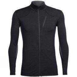 Icebreaker Mens Fluid Zone Long Sleeve Zip Top Black/Black