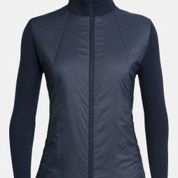 Icebreaker Women's Lumista Hybrid Sweater Jacket Midnight Navy