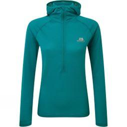 Mountain Equipment Womens Solar Eclipse Hooded Zip Tee Tasman Blue