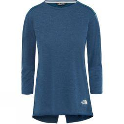 The North Face Womens Inlux 3/4 Sleeve T-Shirt Blue Wing Teal Dark Heather