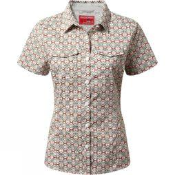 Craghoppers Womens NosiLife Adventure Short Sleeve Shirt Soft Khaki Combo