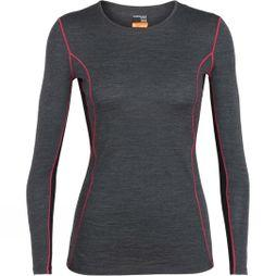 Icebreaker Womens 200 Oasis Deluxe Long Sleeve Crew Top Jet Heather/ Black/ Prism