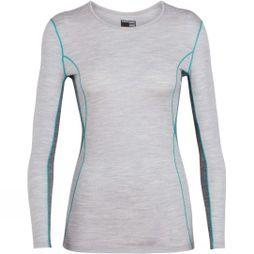 Icebreaker Womens 200 Oasis Deluxe Long Sleeve Crew Top Blizzard Heather/ Gritstone/ Arctic Teal