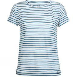 Icebreaker Women Aria SS Scoop Pulled Lines T-Shirt Pulled Lines Snow/Prussian Blue