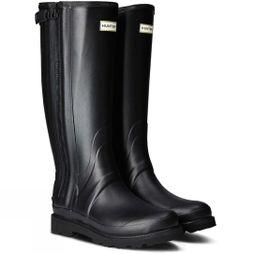 Hunter Mens Commando Full Zip Wellington Boots Black