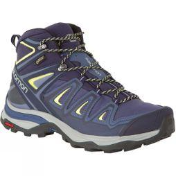 Salomon Womens X-Ultra Mid 3 GTX Boot  Crown Blue/Evening Blue/Sunny Lime
