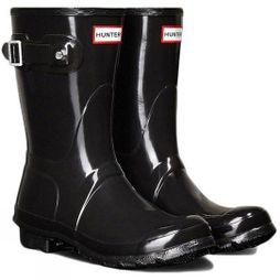 Hunter Womens Original Short Gloss Welly Black