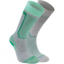 Bridgedale Womens Twin Pack Ski Sock Grey/Mint