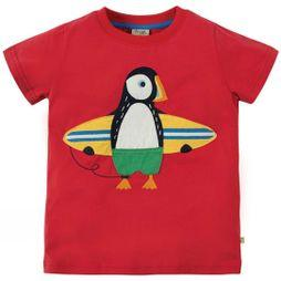 Frugi Childrens Stanley Applique T-Shirt Tomato/Puffin SS19