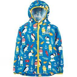 Frugi Childrens Puddle Buster Packaway Jacket  Sail Blue Paddling Puffins SSS19