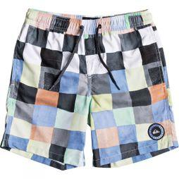 Quiksilver Kids Resin Check Volley Youth 15 Swim Shorts 14+ White