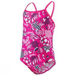 Speedo Tidal Idol Essential Frill Swimsuit Electric Pink/ Navy