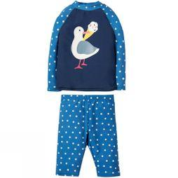 Frugi Girl's Sun Safe Set  Marine Blue Polka Dot/Seagull SS19
