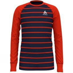 Odlo Kids Warm LS Crew 14+ Poinciana/Diving navy /Stripe