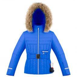 Poivre Blanc Girls Belted Quilted Ski Jacket True Blue
