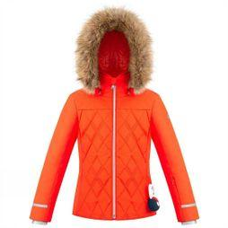 Poivre Blanc Girls Diamond Quilted Ski Jacket Clementine Orange