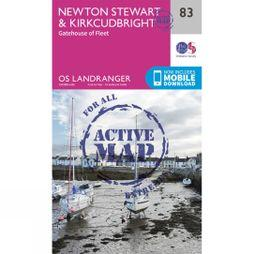 Ordnance Survey Active Landranger Map 83 Newton Stewart and Kirkcudbright V16