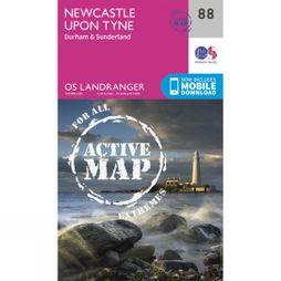 Ordnance Survey Active Landranger Map 88 Newcastle upon Tyne V16