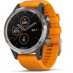 Garmin Fenix 5 Plus Sapphire Titanium Multisport GPS Watch Titanium/Solar Orange