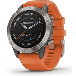 Garmin Fenix 6 Sapphire Titanium Multisport GPS Watch Ti Grey/Orange Band