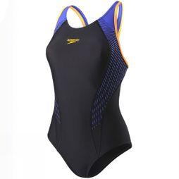 Speedo Fit Laneback Swimsuit Black/ Fluro Orange/ Ultramarine