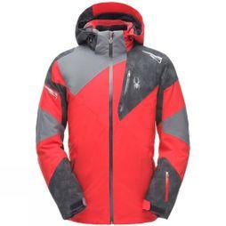 Spyder Mens Leader Gore-Tex Jacket Red/Cloudy Reflective/Polar Grey