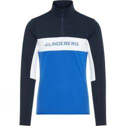 J.Lindeberg Men's Kimball 1/4 Zip Midlayer Sweater Pop Blue/White/Navy