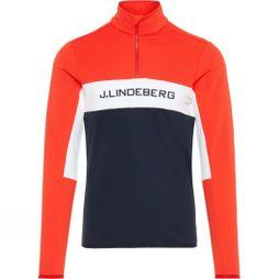J.Lindeberg Men's Kimball 1/4 Zip Midlayer Sweater Racing Red/White/Navy