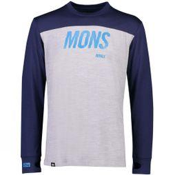 Mons Royale Men's Yotei Tech LS Crew Navy/Grey Marl