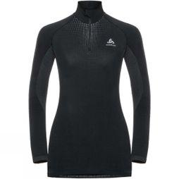 Odlo Womens Performance Warm LS Half Zip Black/ Odlo Concrete Grey