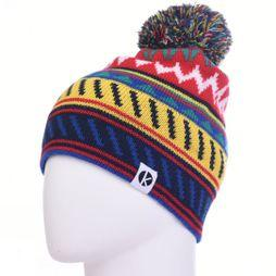 K-nit Cormack Striangles Merino Beanie Blue/Red/Yellow