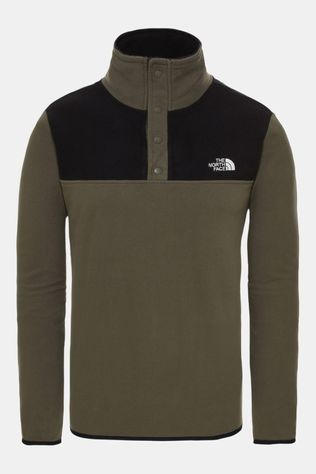 The North Face Mens Tka Glacier Snap-Neck Fleece New Taupe Green/TNF Black