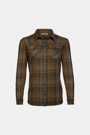 Icebreaker Mens Lodge Flannel Long Sleeve Shirt Jet Heather