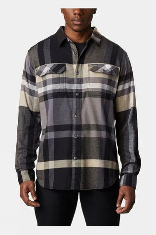 Columbia Mens Flare Gun Stretch Flannel Black Big Check Plaid