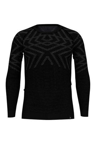 Odlo Mens Natural + Kinship Long Sleeve Crew Top Black Melange