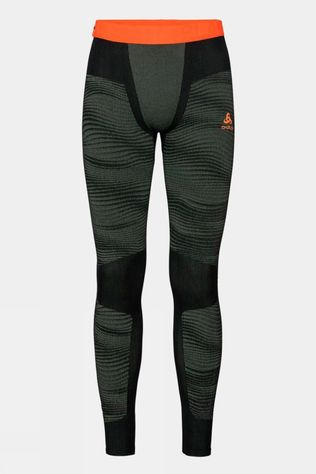 Odlo Mens Blackcomb Base Layer Pants Climbing Ivy - Black - Orange Clown Fish