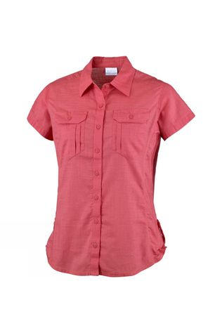 Columbia Womens Camp Henry Solid Short Sleeve Shirt Sunset Red
