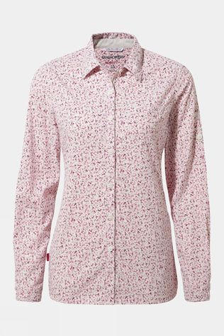 Craghoppers Women's Nosilife Fara L/S Shirt Red Print