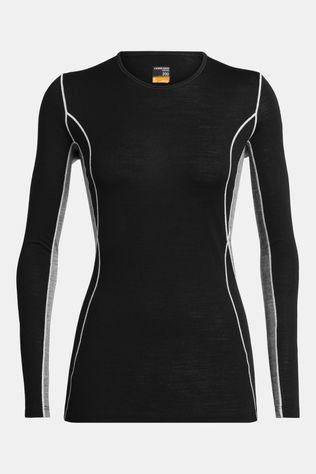 Icebreaker Womens 200 Oasis Deluxe Long Sleeve Crew Top Black/Gritstone Heather