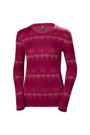 Helly Hansen Womens HH Merino Mid Graphic LS Crew Persian Red / Frost