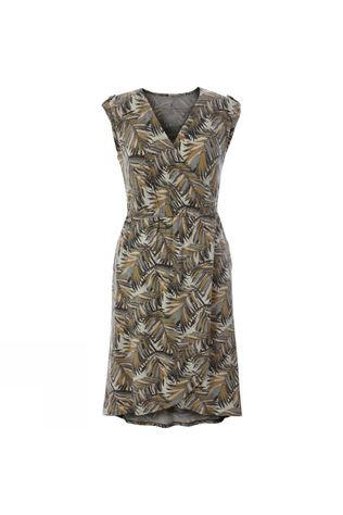 Royal Robbins Womens Noe Cross-Over Dress Light Aupe Print
