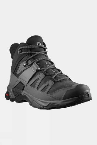 Salomon Mens X Ultra 4 Mid GTX Wide Hiking Boot Black/Magnet/Pearl Blue