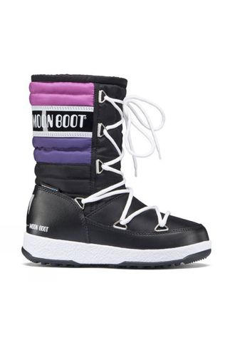 Moon Boots Kid's W.E Quilted JR Snow Boot Black/ Violet/ Orchid
