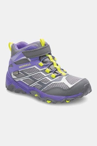 Merrell Girls Moab FST Mid Waterproof Boot Grey/Purple