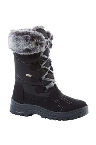 Calzat Girl's Fur Trim Traction Boot Black